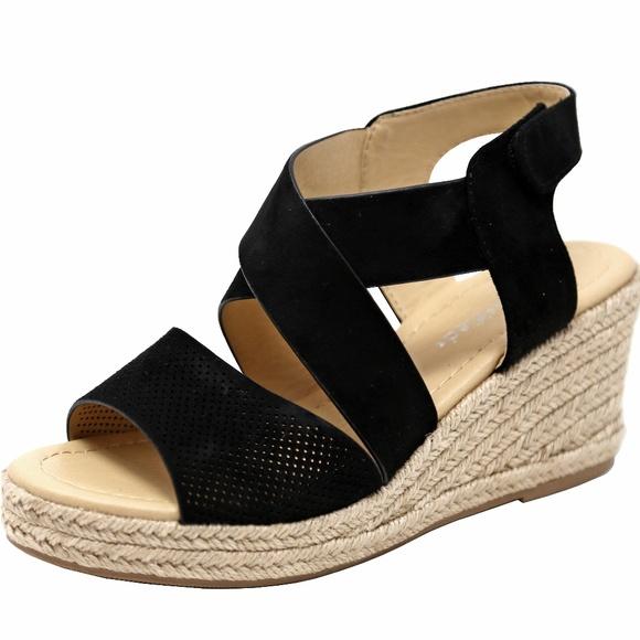 852671a8da9 Black Strappy Espadrille Platform Wedge Sandals Boutique